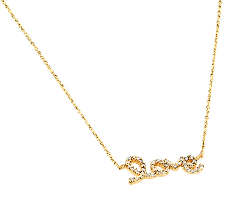 "Sterling Silver Script ""LOVE"" Necklace Yellow Gold Plated"